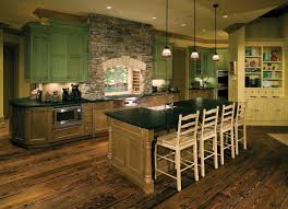 Wooden Country Kitchen - rustic country kitchen decor green painted wall mounted cabinet