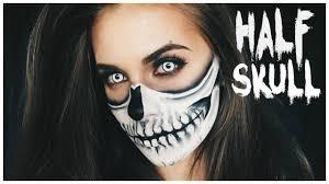 half skull halloween makeup tutorial lisa marie schiffner youtube