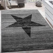teppich mit sternen designer teppich stern muster modern trendig kurzflor meliert in