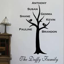 fashionable ideas family tree wall plus personalised sticker
