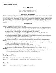 Resume Synopsis Sample by Resume Skills Summary Sample Free Resume Example And Writing