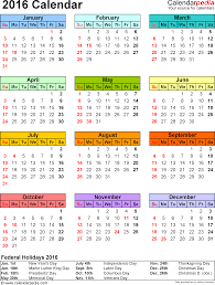 2016 government holidays