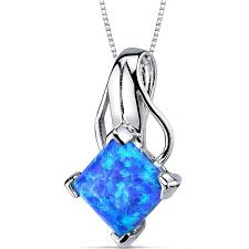 blue green opal amazon com created blue green opal pendant necklace sterling
