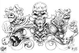 demon tattoo designs over white background chainimage