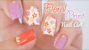 floral print nail art using mitty u0027stripy glamour u0027 nail art