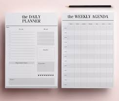 printable menu planner pages daily planner pages us letter size 8 5 x 11 inches