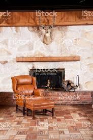 Home Interiors Deer Picture Deer Trophy Hanging Over Burning Fireplace Stock Photo Istock