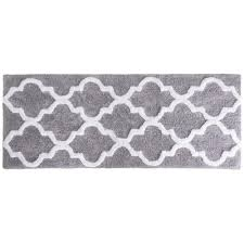 Black And White Bathroom Rug by Lavish Home Trellis Silver 24 In X 60 In Bathroom Mat 67 0029 S
