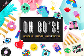 pop art 80 s patches and stickers icons creative market