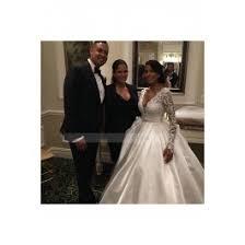 satin v neck chapel train ivory long sleeve ball gown wedding