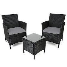 Christow Black Rattan Table  Chairs Garden Patio Furniture Set - Rattan furniture set