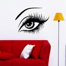 online get cheap black salon wall stickers aliexpress com beauty eye black wall stickers fashion girl salon spa shop decor lady bedroom home decals pinturas