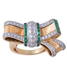 goldfinger wedding rings retro emerald diamond and gold bow ring for sale at 1stdibs
