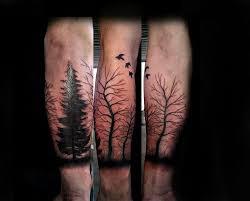 com tattoos trees birds black work