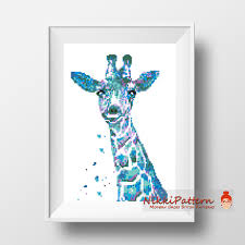 modern giraffe ring holder images Modern cross stitch pattern giraffe watercolor animals pdf jpg