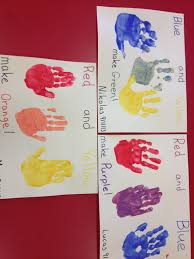 preschool color mixing paint each hand a different primary color