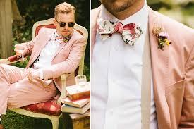 dapper daring groom wears pale peach suit and bow tie karas