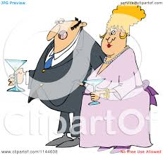 cartoon martini cartoon of a dressed up man and woman holding martinis royalty