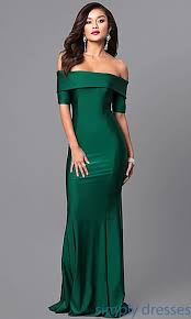 green dress the shoulder prom dress with sleeves