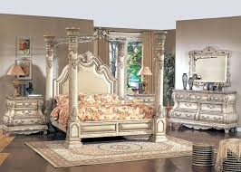 King White Leather Poster Canopy Bed Pc Traditional Bedroom - White leather queen bedroom set