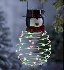 solar powered penguin hanging decoration outdoor decorations