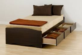 bed design of brown wood with mattress white color and storage