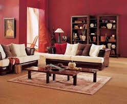 simple living room design with brown white sofa wooden coffee