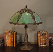 marvelous art nouveau trellis ivy multi colored slag glass lamp