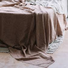 linen bedding made of rose brown pure european flax fabric