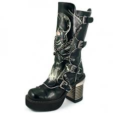 Skull High Heels Skull Print Womens Biker Boots With Chains By Hades Gothic Boots