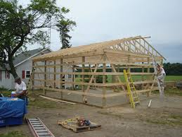 trusses raised 24 x 30 pole barn garage construction materials