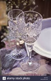 water glasses on table setting crystal wine goblet water glass on formal table setting stock photo