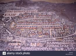 Map Of Jerusalem The 6th Century Mosaic Map Of Jerusalem In Madaba Jordan Stock