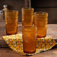 the pioneer woman 16 ounce amber adeline glass tumbler set 4 pack