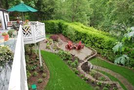 fabulous stone vintage backyard landscape design with small plants