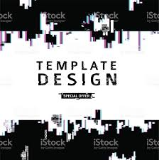 template design glitch style vector distorted background