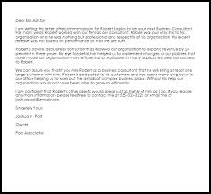 business consultant recommendation letter sample livecareer