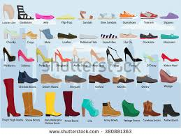 womens boots types set different types womens shoes womans stock vector 380881363