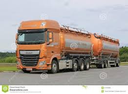paccar trucks new daf xf tank truck being refueled editorial image image 57214440