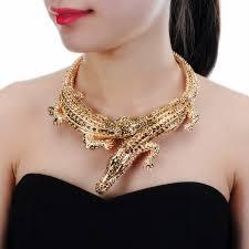 bib necklace aliexpress images Jerollin big crocodile necklaces inlay full rhinestones women big jpg