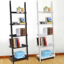 Leaning Ladder Bookshelves by Details About 5 Tier Wooden Leaning Ladder Shelf Shelves Shelving
