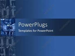 powerpoint template a number of chairs and table with bluish