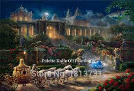 kinkade paintings cinderella giclee canvas paintings
