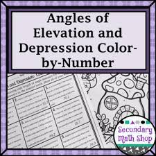 trigonometry angles of elevation u0026 depression color by number tpt