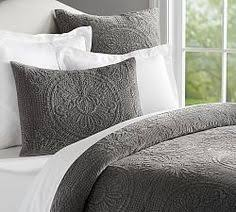 i love the quilting on this gray bedding beautiful u0026 i u0027m