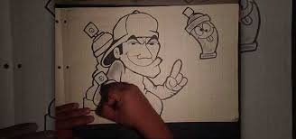 how to draw a graffiti artist holding animated spray cans