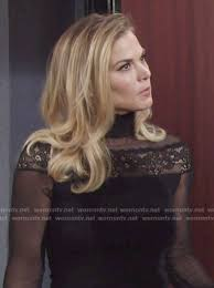 re create gina tognoni hair color wornontv phyllis s black lace and mesh turtleneck dress on the