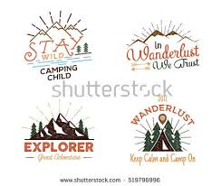 set outdoors activity badges hiking custom stock vector 519796996