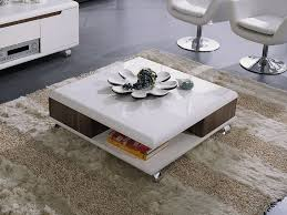 table basse carrée lotus mdf laqué blanc melamine walnut 53668