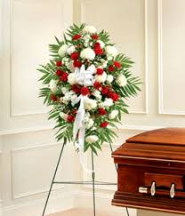 funeral spray white sympathy standing spray at from you flowers